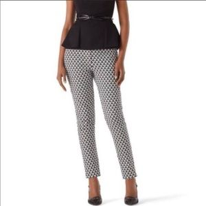 WHBM patterned black & white slim ankle pants, 6